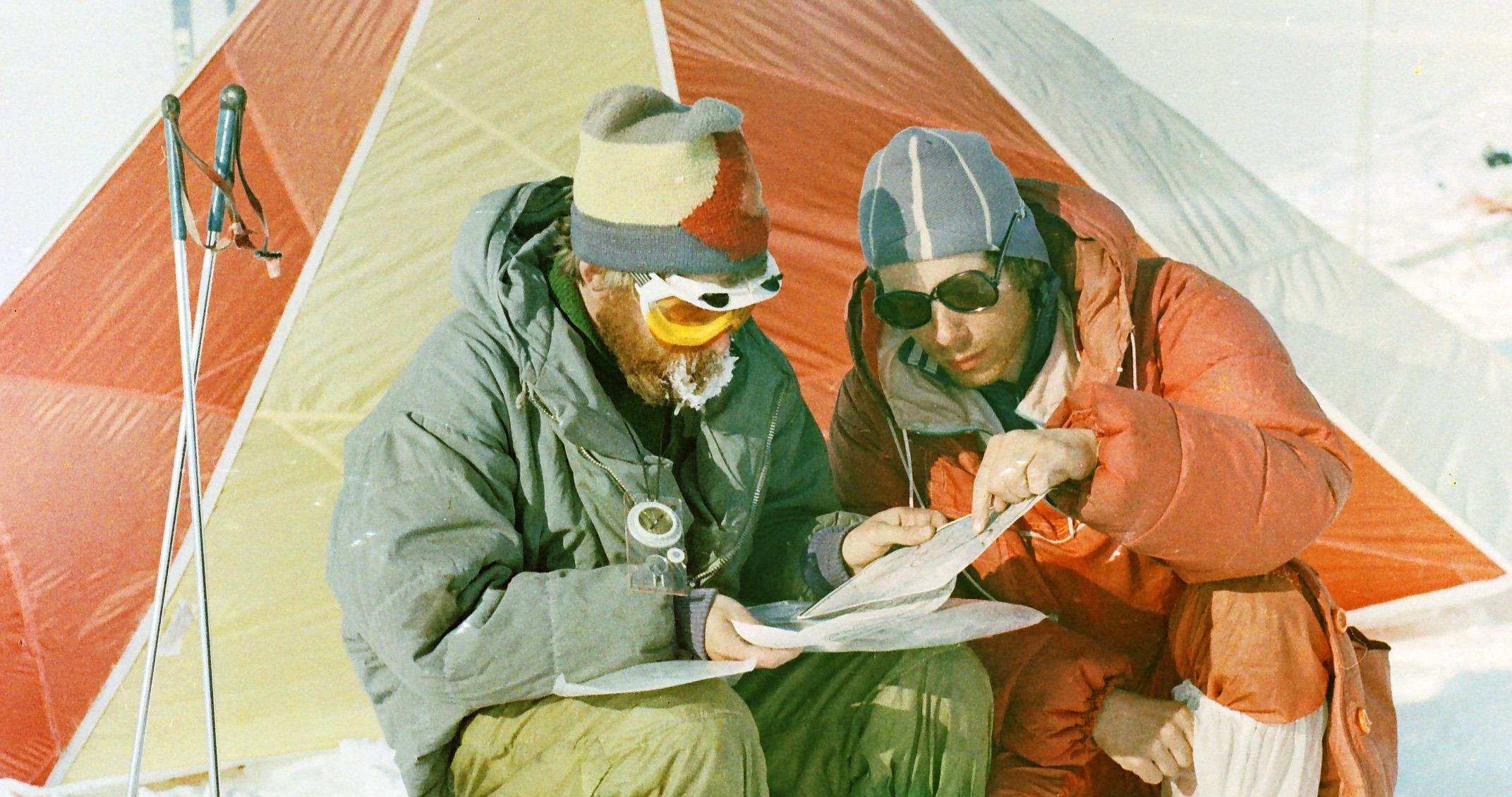 на фото - экспедиция на плато Путорана 19... года